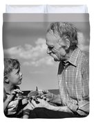 Grandfather And Boy With Model Plane Duvet Cover