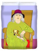 Grandma And Puppy Duvet Cover
