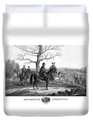 Grant And Lee At Appomattox Duvet Cover by War Is Hell Store