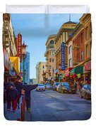 Grant Street In Chinatown Duvet Cover