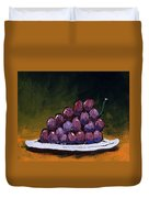 Grapes On A White Plate Duvet Cover