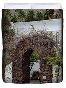 Grapevine Covered Stone Garden Door Duvet Cover