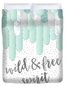 Graphic Art Feathers Wild And Free Spirit - Mint Duvet Cover