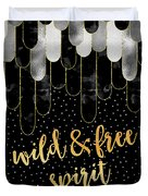 Graphic Art Feathers Wild And Free Spirit - Sparkling Metals Duvet Cover