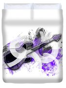 Graphic Art Guitar - Purple Duvet Cover