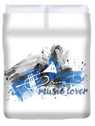 Graphic Art Music Lover - Blue Duvet Cover