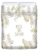 Graphic Art Rise And Shine - Gold And Marble Duvet Cover
