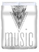 Graphic Art Silver Music On - World Off Duvet Cover
