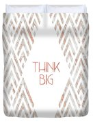 Graphic Art Think Big - Rose Gold And Marble Duvet Cover by Melanie Viola