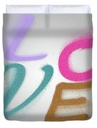 Graphic Display Of The Word Love  Duvet Cover