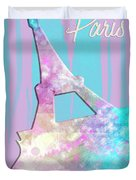 Graphic Style Paris Eiffel Tower Pink Duvet Cover by Melanie Viola