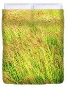 Grass Field Landscape Illuminated By Sunset Duvet Cover