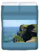 Grass Growing Along The Cliff's Of Moher In Ireland Duvet Cover