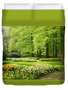 Grass Lawn With Daffodils  Duvet Cover
