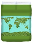 Grass World Map Duvet Cover