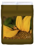 Grasshopper In Sunflower Duvet Cover