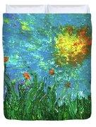 Grassland With Orange Flowers Duvet Cover