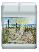 Grassy Beach Post Morning 2 Duvet Cover