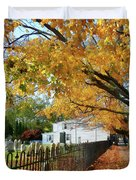 Graveyard In Autumn Duvet Cover