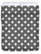 Gray And White Polka Dots Duvet Cover