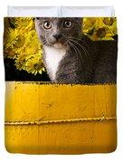Gray Kitten In Yellow Bucket Duvet Cover