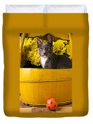 Gray Kitten In Yellow Bucket Duvet Cover