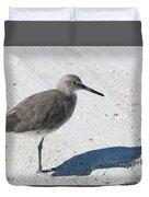 Gray Sandpiper On White Beach Duvet Cover