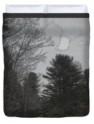Gray Skies Over The Pines Duvet Cover