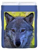 Gray Wolf Portrait Duvet Cover