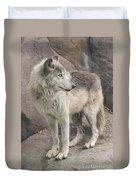 Gray Wolf Profile Duvet Cover