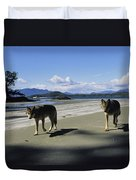Gray Wolves On Beach Duvet Cover