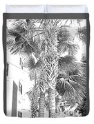 Grayscale Palm Trees Pen And Ink Duvet Cover