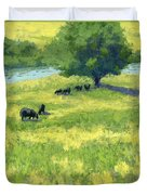Grazing By The Bear River Duvet Cover by David King