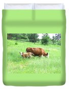 Grazing Cow And Calf Duvet Cover