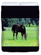Grazing Horse In The Flowers Duvet Cover