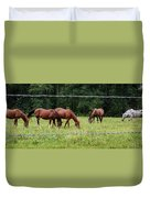 Grazing Horses - Cades Cove - Great Smoky Mountains Tennessee Duvet Cover