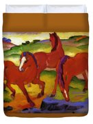 Grazing Horses Iv The Red Horses 1911 Duvet Cover