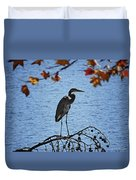Great Blue Heron At Shores Of King's Mountain Point Duvet Cover