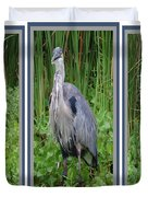 Great Blue Heron Collage Duvet Cover