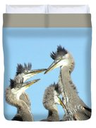 Great Blue Heron Discussion Duvet Cover