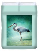 Great Blue Heron Duvet Cover by Ellen Heaverlo