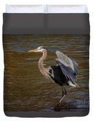 Great Blue Heron - Flooded Creek Duvet Cover