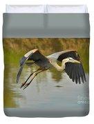 Great Blue Heron Flying Across Lake Duvet Cover