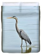 Great Blue Heron In River Duvet Cover