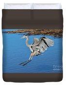 Great Blue Heron Landing In The Marsh Duvet Cover