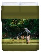 Great Blue Heron Mouth Duvet Cover