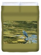 Great Blue Heron On A Golden River Duvet Cover