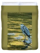Great Blue Heron On A Golden River Vertical Duvet Cover