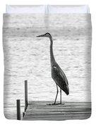 Great Blue Heron On Dock - Keuka Lake - Bw Duvet Cover