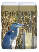 Great Blue Heron On Guard Duvet Cover